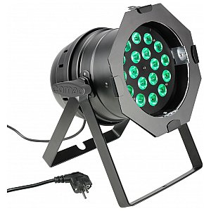 Cameo Light PAR 64 CAN - 18 x 8W QUAD Colour LED PAR Can RGBW in black housing, reflektor sceniczny LED 1/4