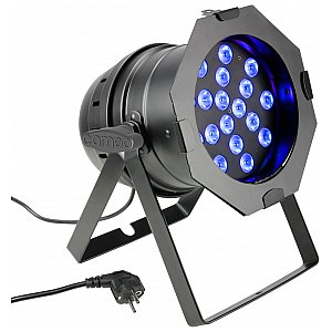 Cameo Light PAR 64 CAN - 18 x 3 W TRI Colour LED PAR Can RGB in black housing, reflektor sceniczny LED 1/5
