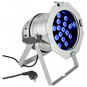 Cameo Light PAR 64 CAN - 18 x 3 W TRI Colour LED PAR Can RGB in polished housing, reflektor sceniczny LED 1/5