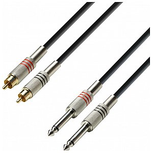Adam Hall 3 Star Przewód audio 2 x RCA male /  2 x 6.3 mm Jack mono 1 m 1/2