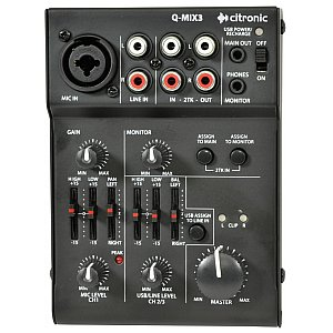 Citronic Q-MIX3 2 Channel Battery Powered Compact Mixer, mikser audio 1/4