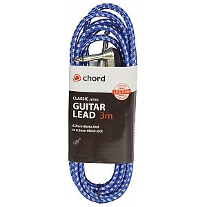 Kabel gitarowy instrumentalny 3m Chord Classic Braided Right Angled Guitar Lead Blue/White 3.0m 1/3