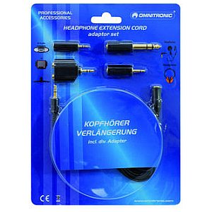 Omnitronic Headphone extension 3m with adaptor set 1/2