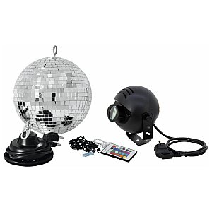 Eurolite Mirror ball set 20cm with LED RGB spot IR 1/5